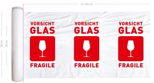 Vorsicht Glas / zerbrechlich - bedruckte Stretchfolie